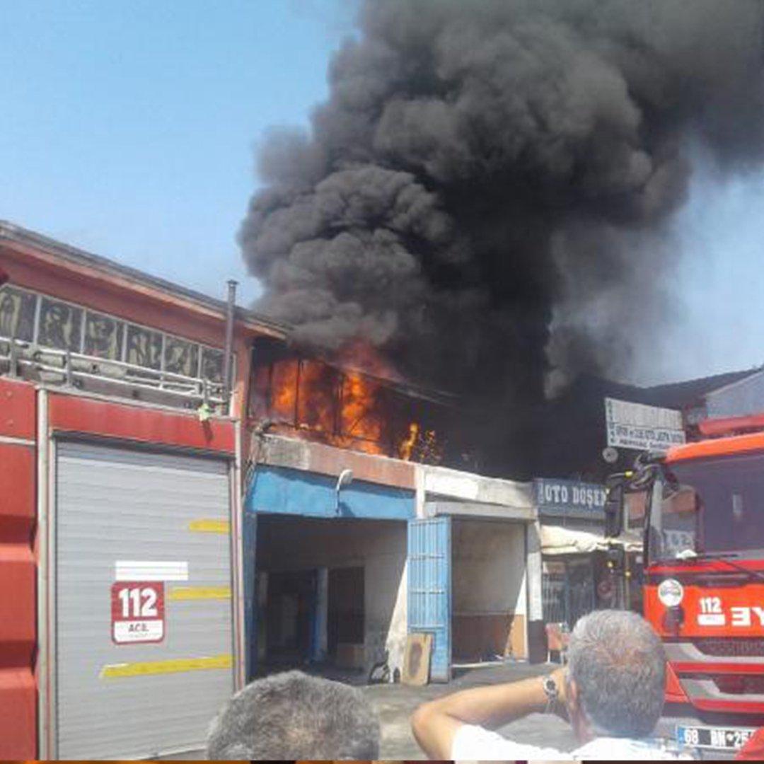 Aksaray'da sanayi sitesinde yangın! 6 kişi dumandan etkilendi