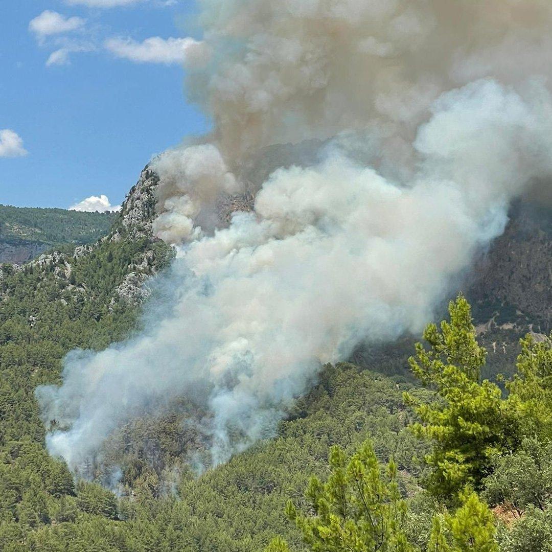 Alanya'da biri orman 2 ayrı yerde çıkan yangın söndürüldü