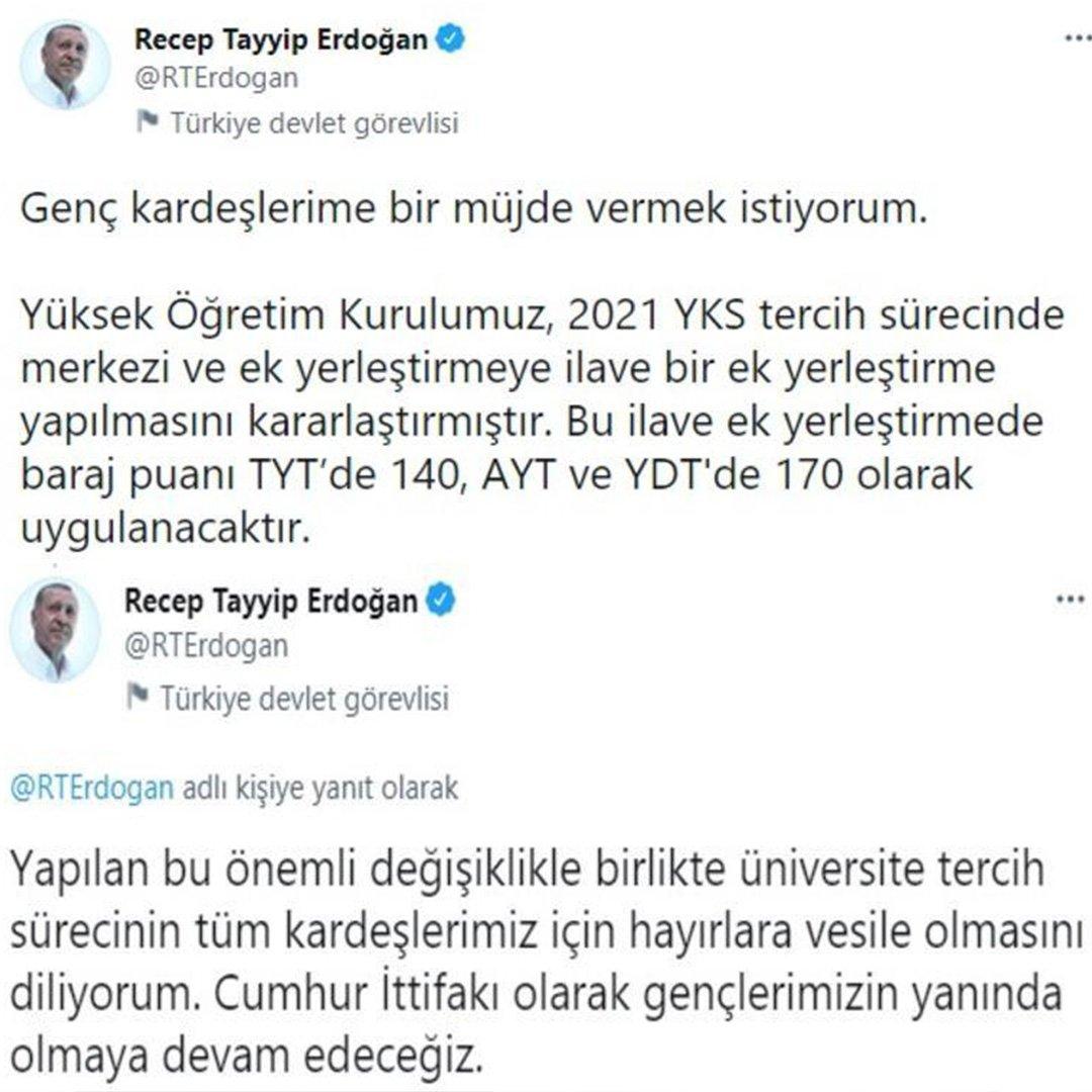 Cumhurbaşkanı Erdoğan'dan gençlere müjde! YKS tercih barajı düştü