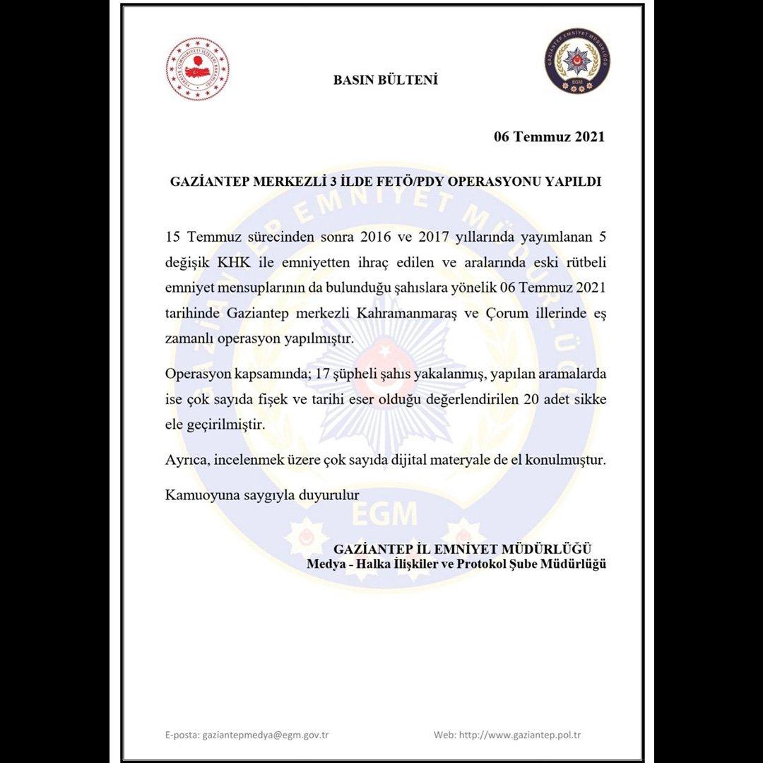 Gaziantep merkezli 3 ilde FETÖ operasyonu: 17 gözaltı