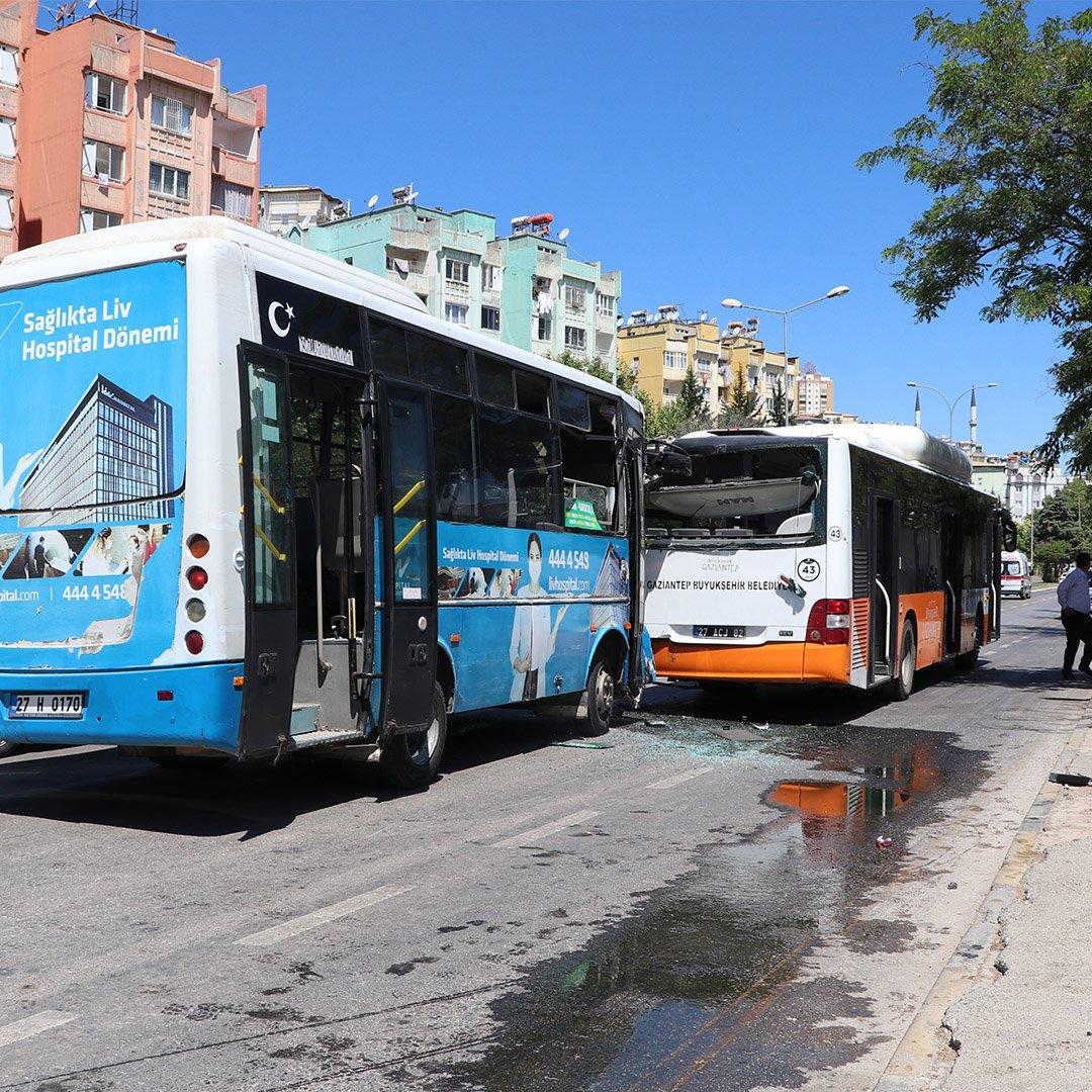 Gaziantep'te iki halk otobüsünün çarpıştığı kazada 7 kişi yaralandı