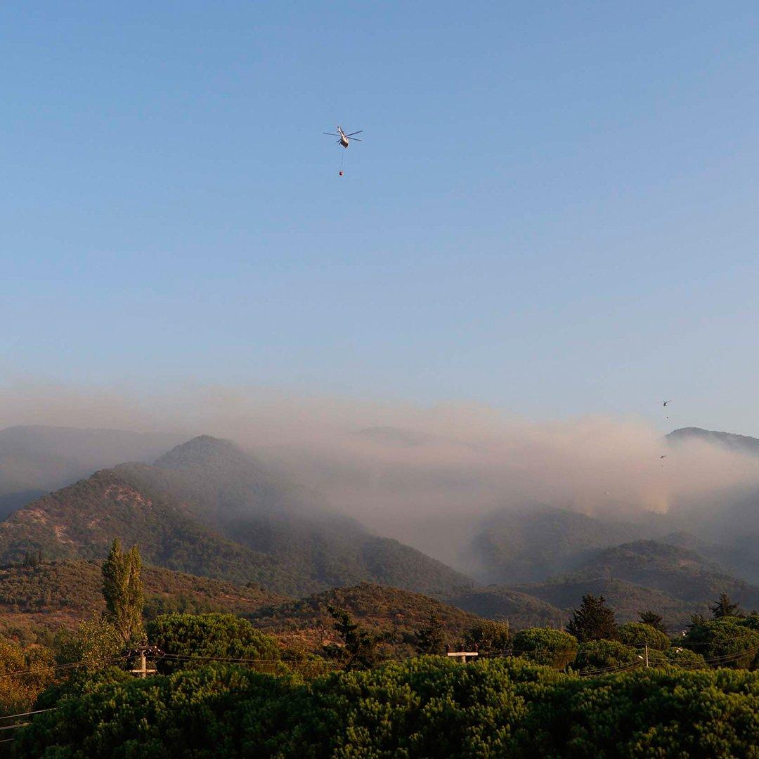 Kazdağları'ndaki yangına hava müdahalesi yeniden başladı