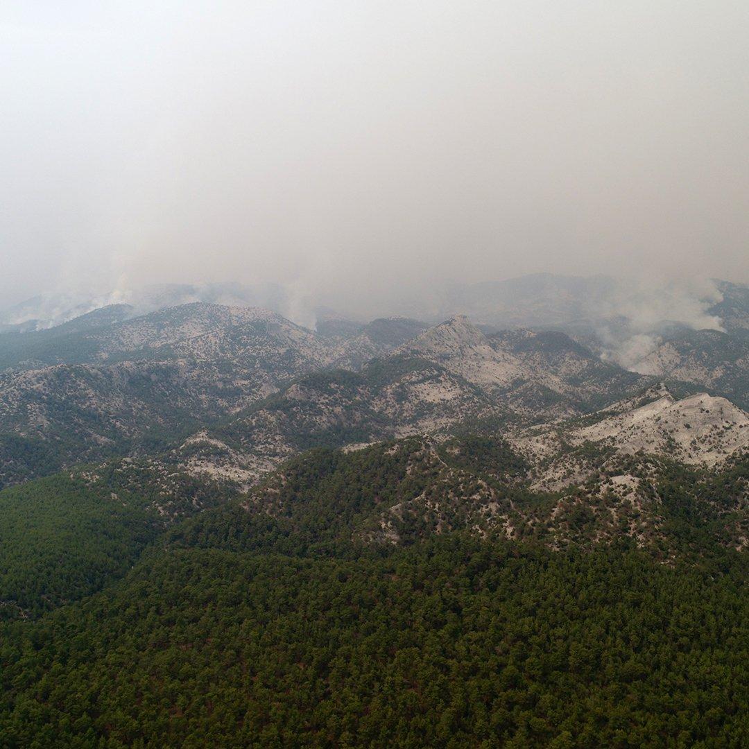Menteşe'de yangın söndürme çalışmaları devam ediyo