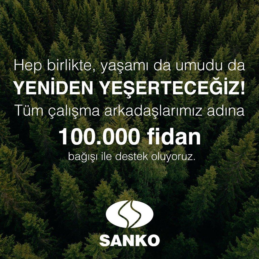 SANKO Holding'den 100 bin fidan desteği