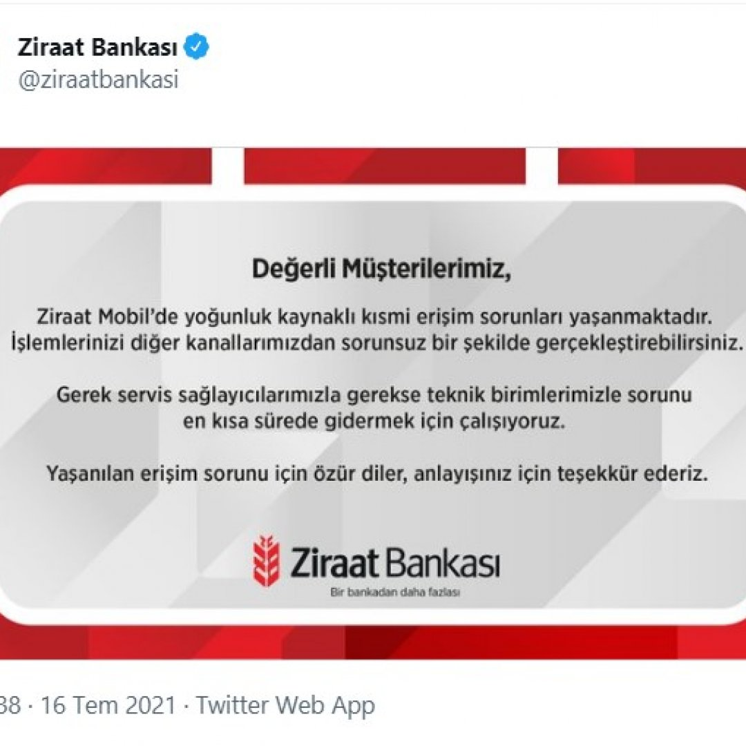 Ziraat Bankası'nın mobil uygulaması çöktü: Ziraat Bankası'ndan açıklama geldi